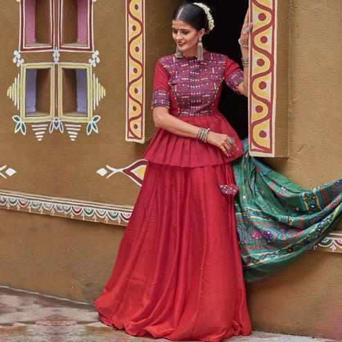 Trendy Maroon Colored Party Wear Embroidered Silk Navratri Lehenga Choli