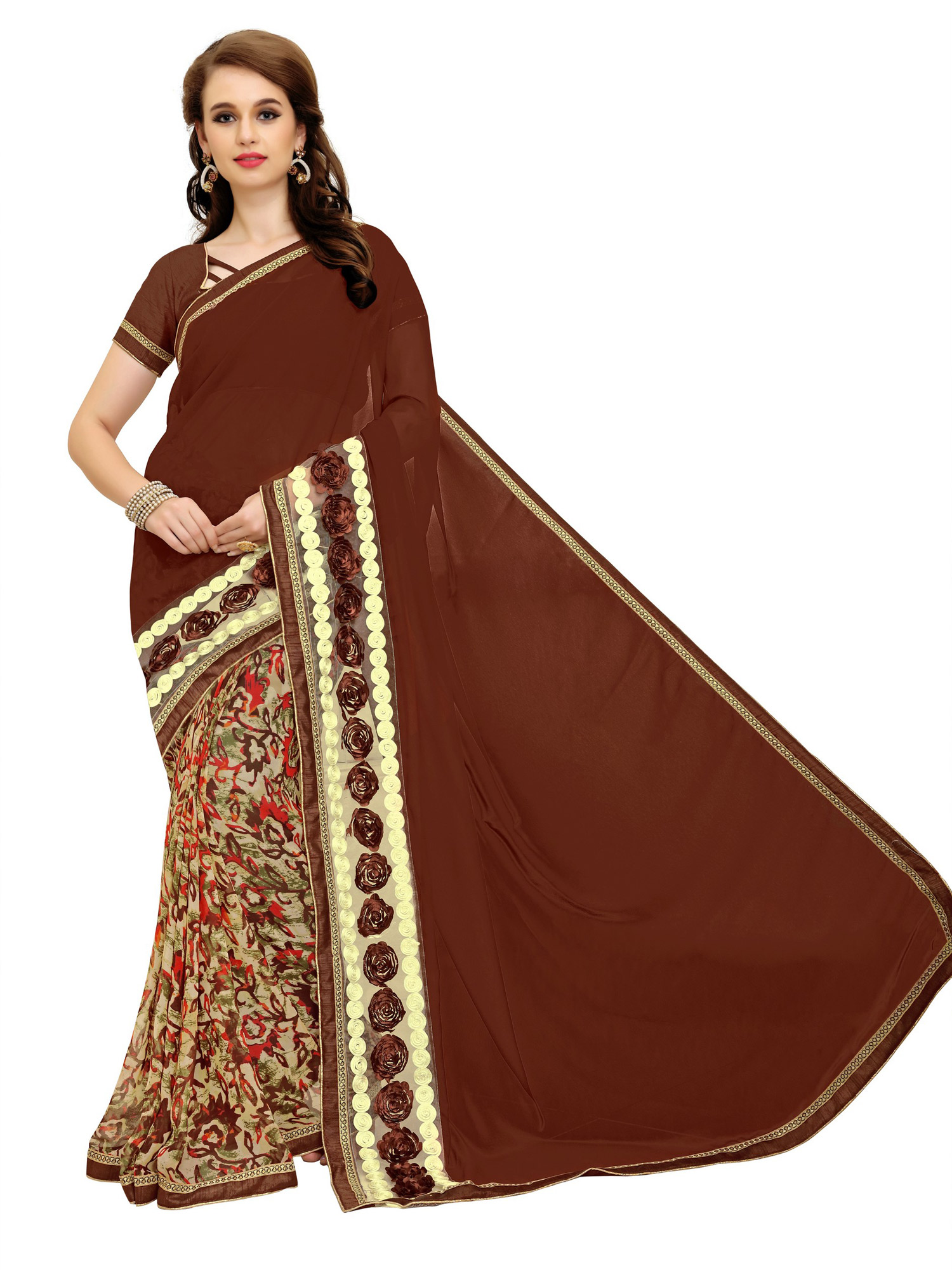 Graceful Brown Printed Weightless Georgette Saree