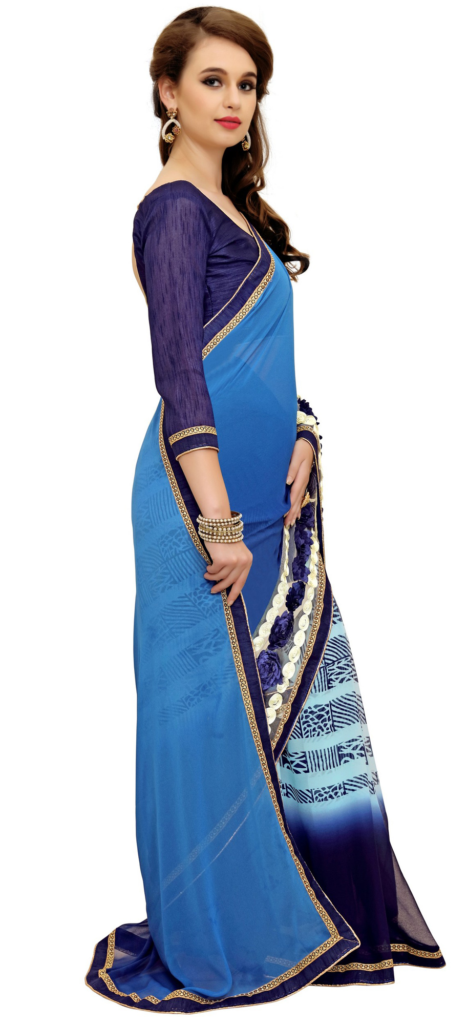 Charming Blue Printed Weightless Georgette Saree