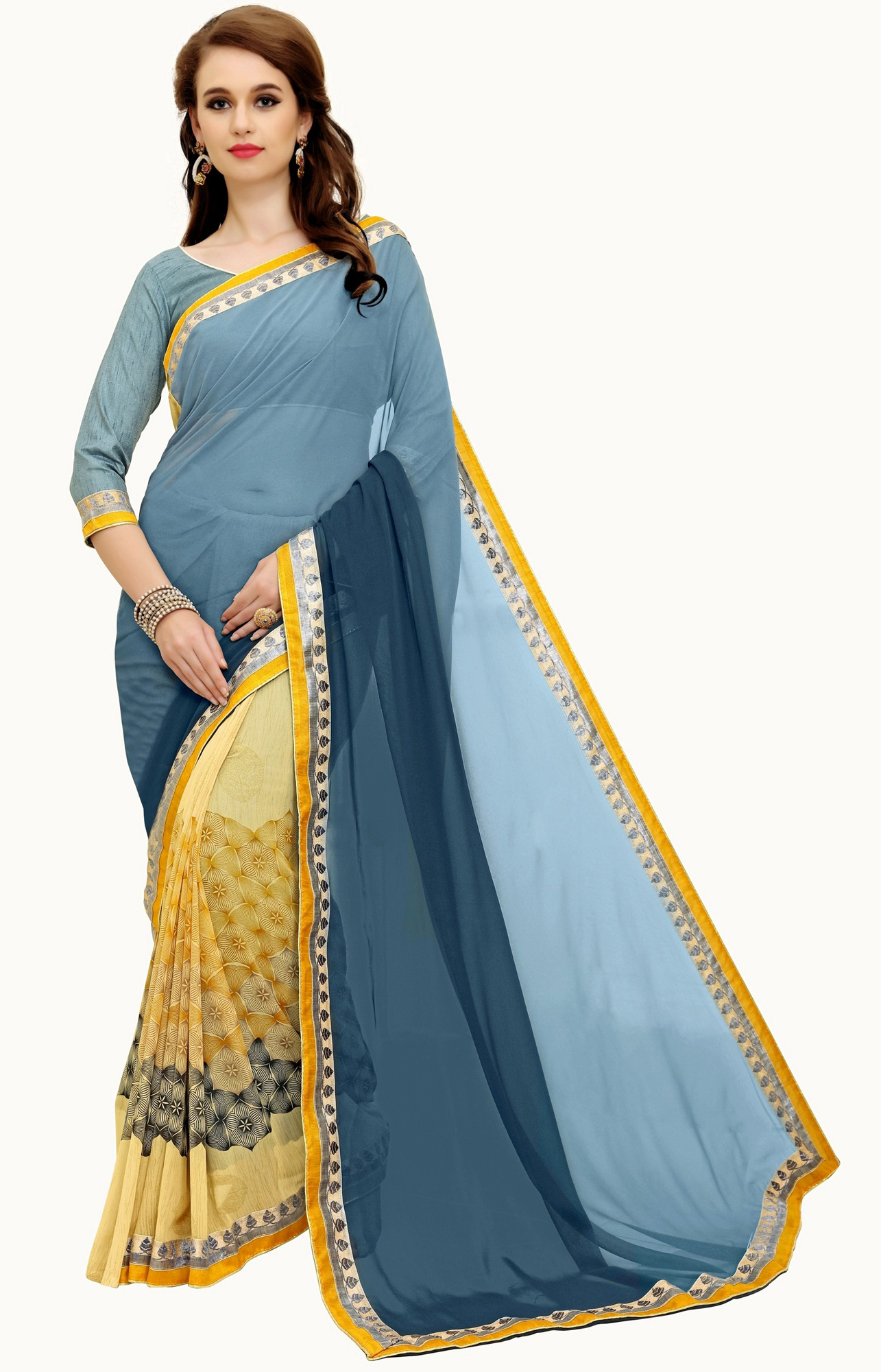 Beautiful Gray-Yellow Printed Weightless Georgette Saree