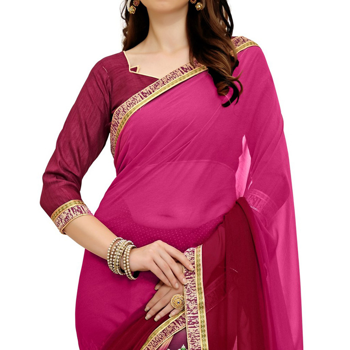 Adorable Pink Printed Weightless Georgette Saree