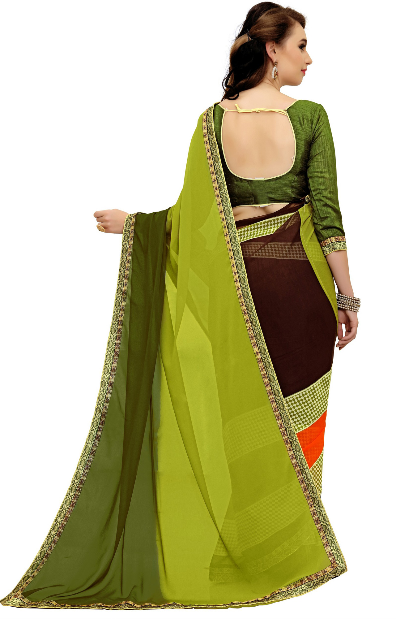Gorgeous Green Printed Weightless Georgette Saree