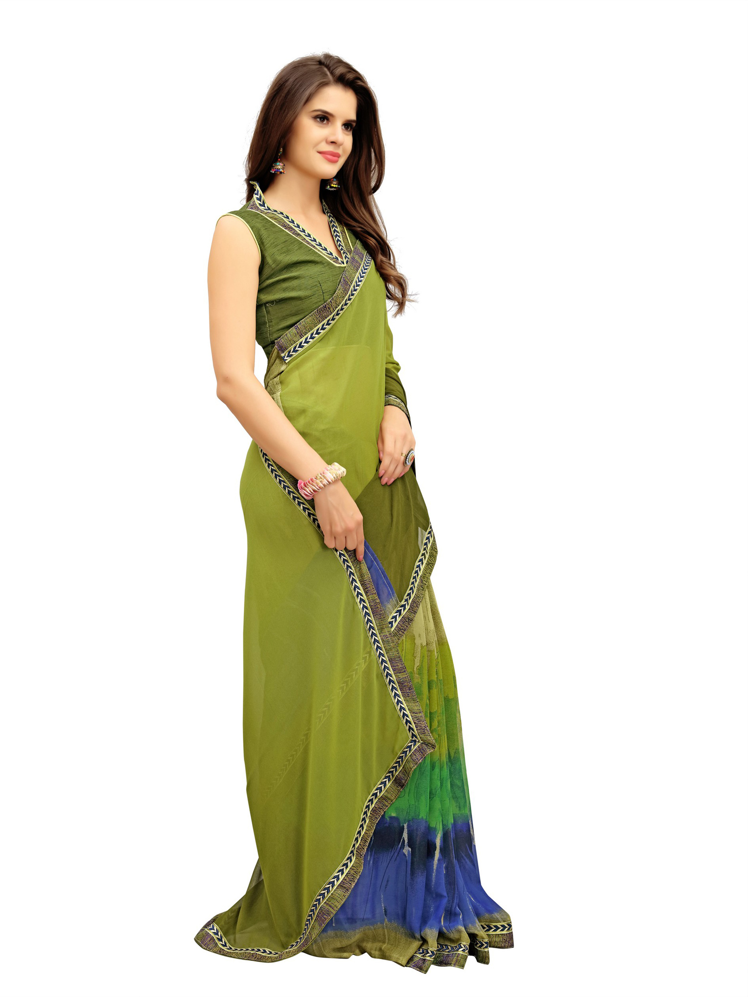 Graceful Green Printed Weightless Georgette Saree