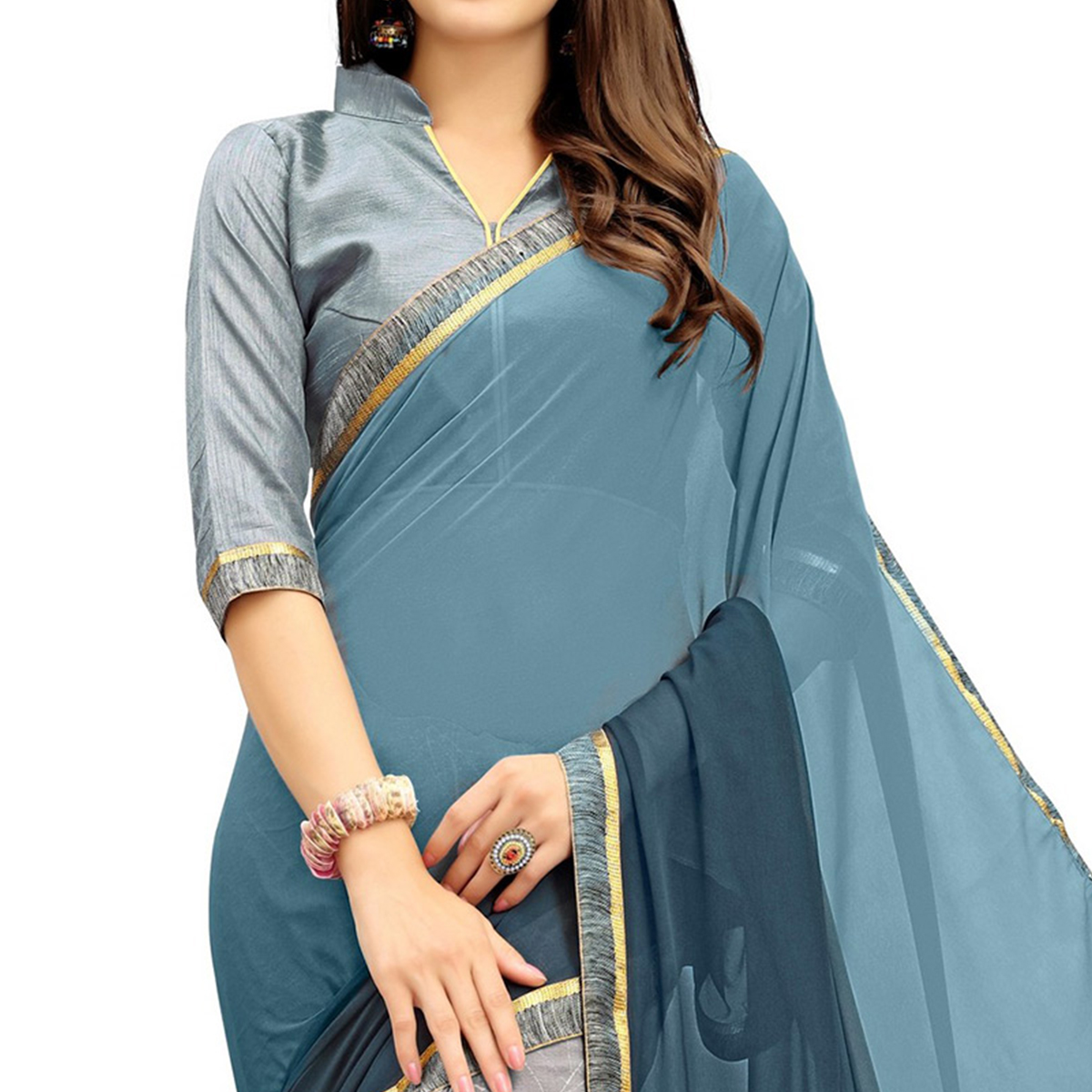 Mesmerising Gray Printed Weightless Georgette Saree