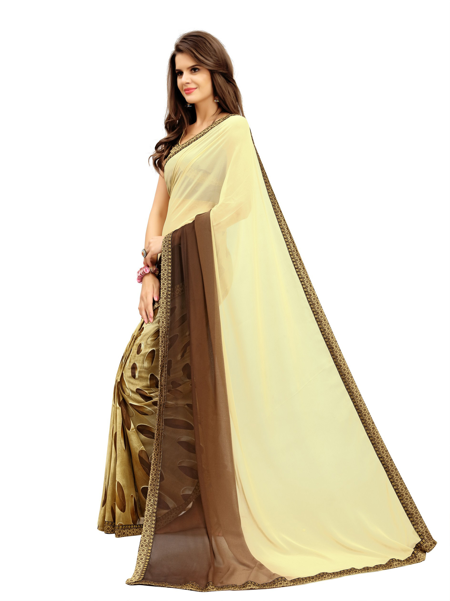 Dazzling Yellow-Brown Printed Weightless Georgette Saree