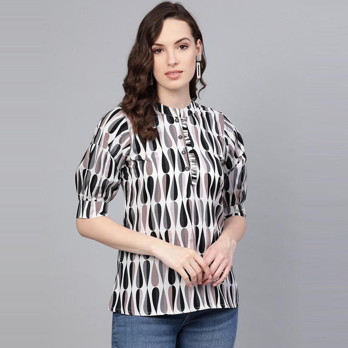 Myshka - Women's Multicolor Printed Casual Polyester Top