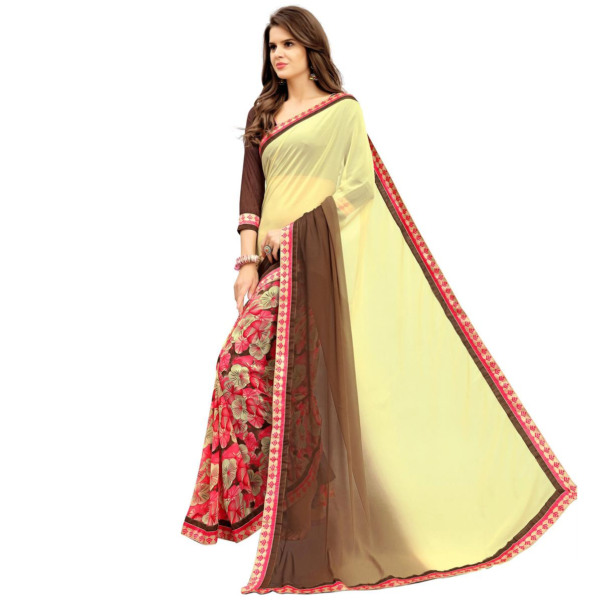 Adorable Yellow Printed Weightless Georgette Saree