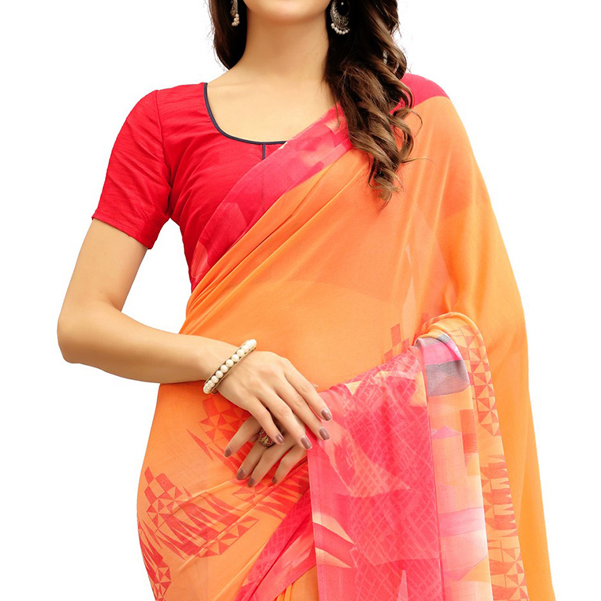 Beautiful Orange Printed Weightless Georgette Saree