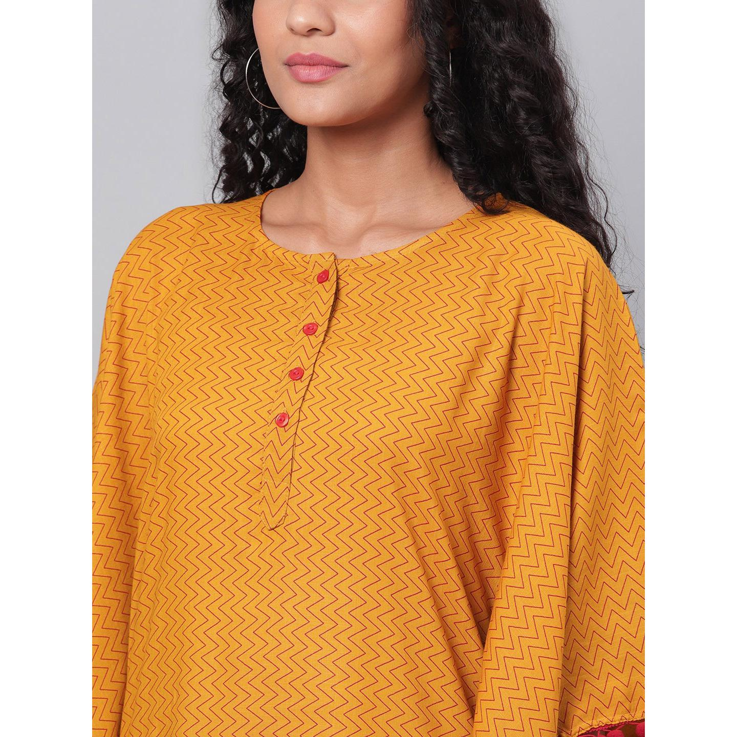 Myshka - Women's Yellow Printed Casual Cotton Kaftaan Top