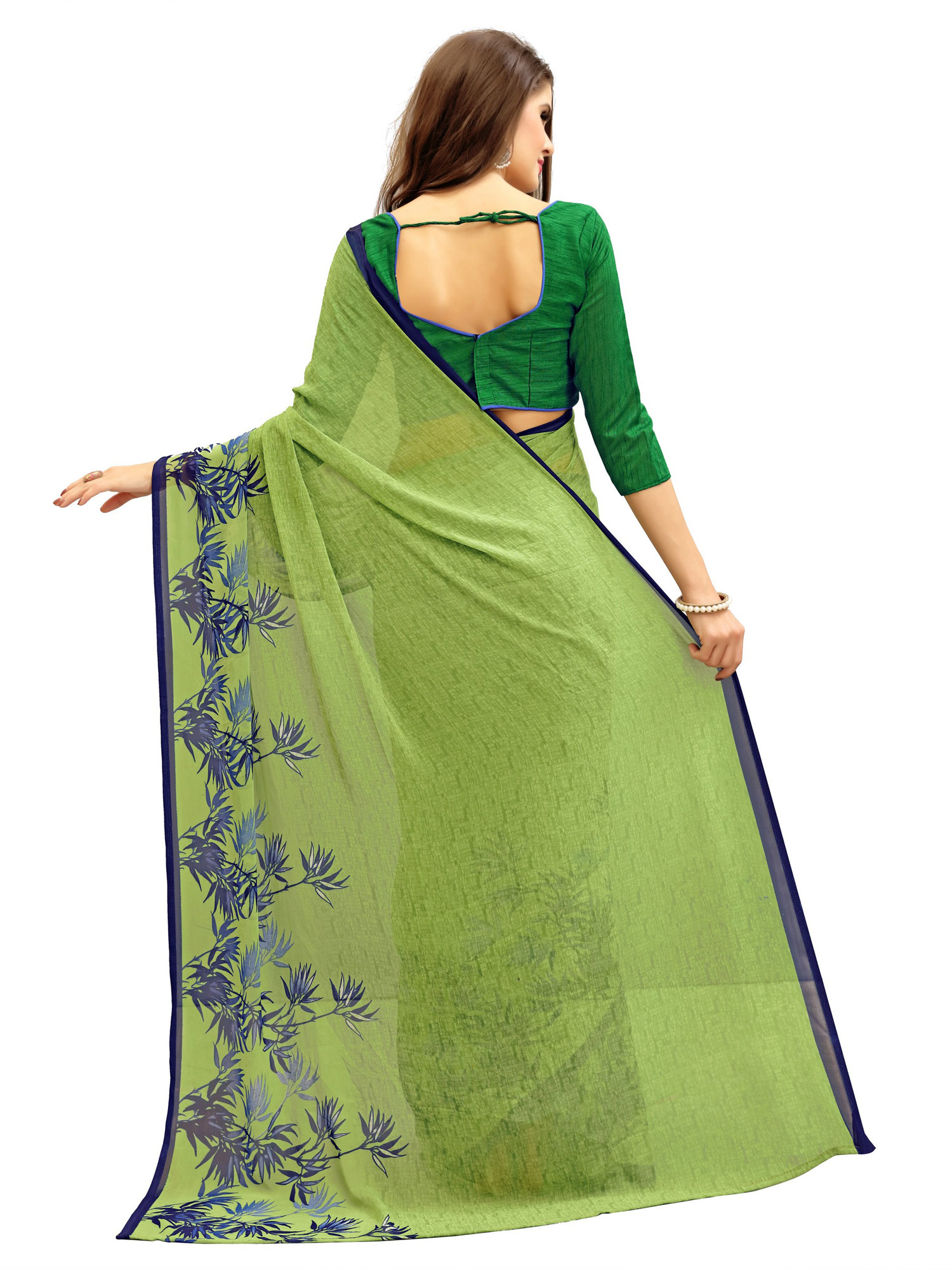 Attractive Green Printed Weightless Georgette Saree