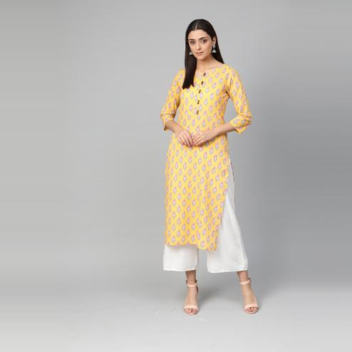 Myshka - Women's Yellow Printed 3/4 Sleeve Round Neck Casual Cotton Kurti