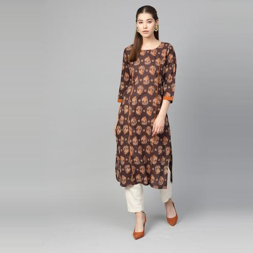 Myshka - Women's Brown Printed 3/4 Sleeve Round Neck Casual Cotton Kurti