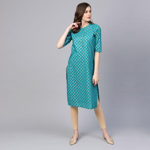 Myshka - Women's Teal Blue Half Sleeve Round Neck Printed Cotton Kurti