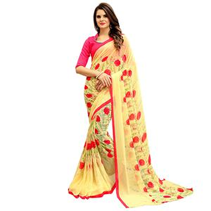 Dazzling Yellow Printed Weightless Georgette Saree