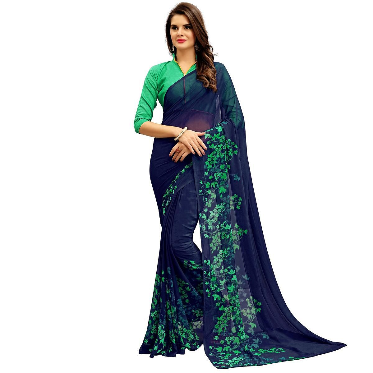 Adorable Navy Printed Weightless Georgette Saree
