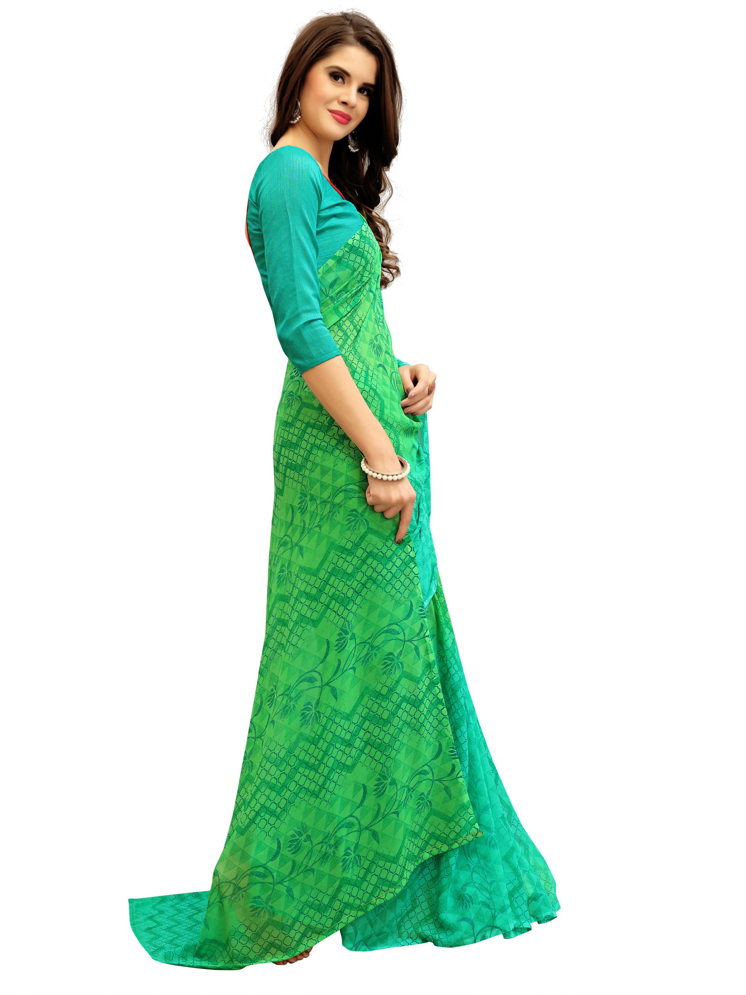 Stunning Green Printed Weightless Georgette Saree
