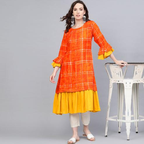 Myshka - Women's Orange Rayon Printed Bell Sleeve Round Neck Casual Cotton Kurti