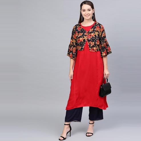 Myshka - Women's Red-black Printed 3/4 Sleeve Round Neck Casual Cotton Kurti With Jacket