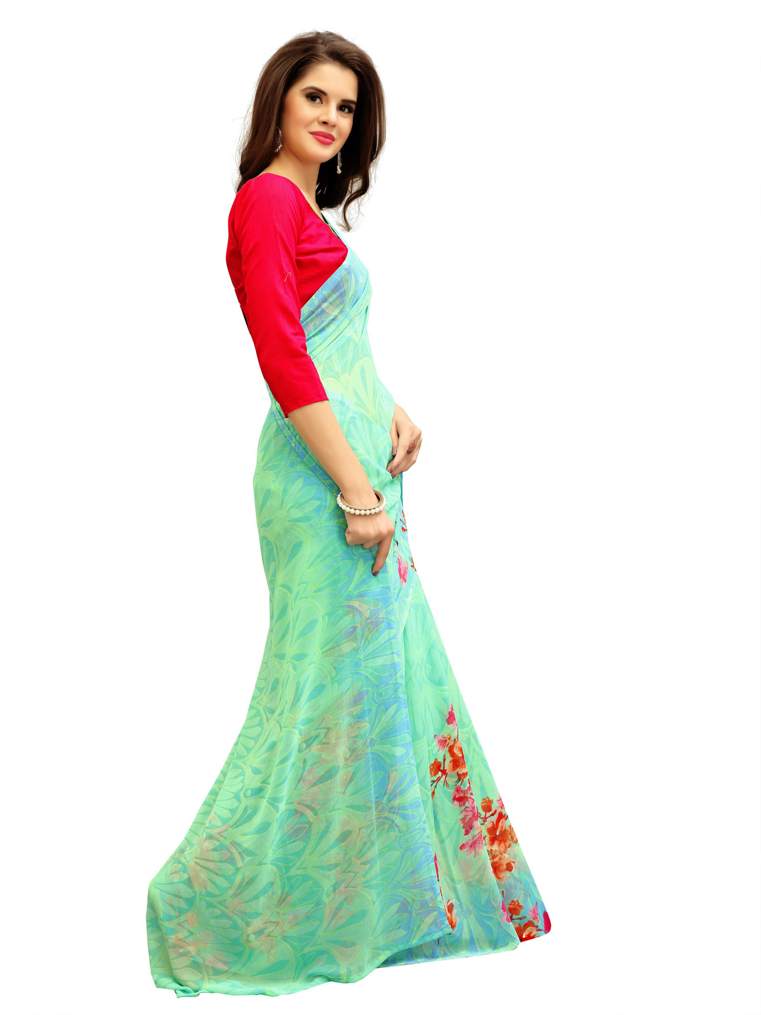 Charming Green Printed Weightless Georgette Saree