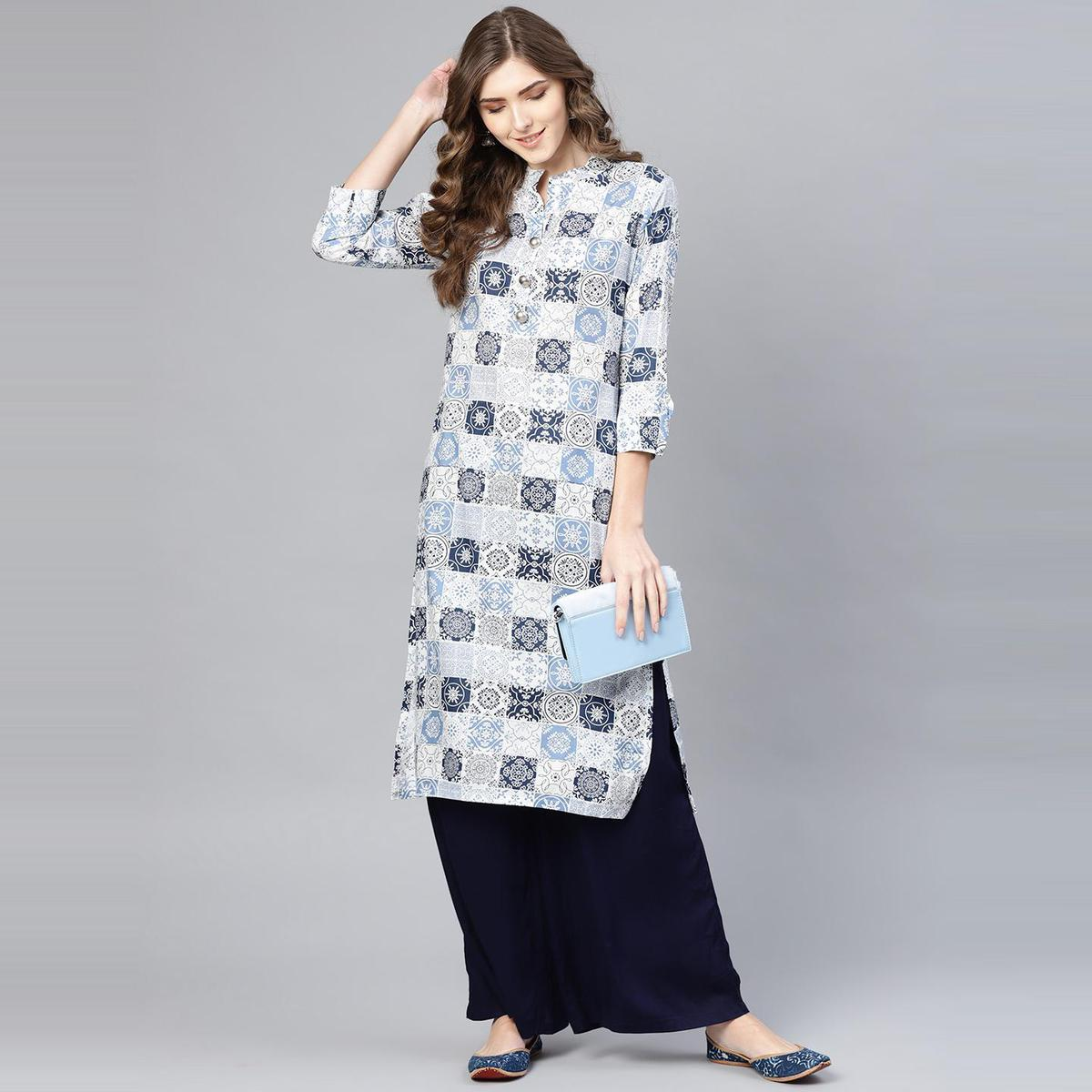Myshka - Women's White-blue Printed 3/4 Sleeve Collar Neck Cotton Kurti