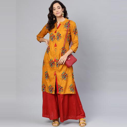 Myshka - Women's Mustard Yellow Printed 3/4 Sleeve Cotton Kurti
