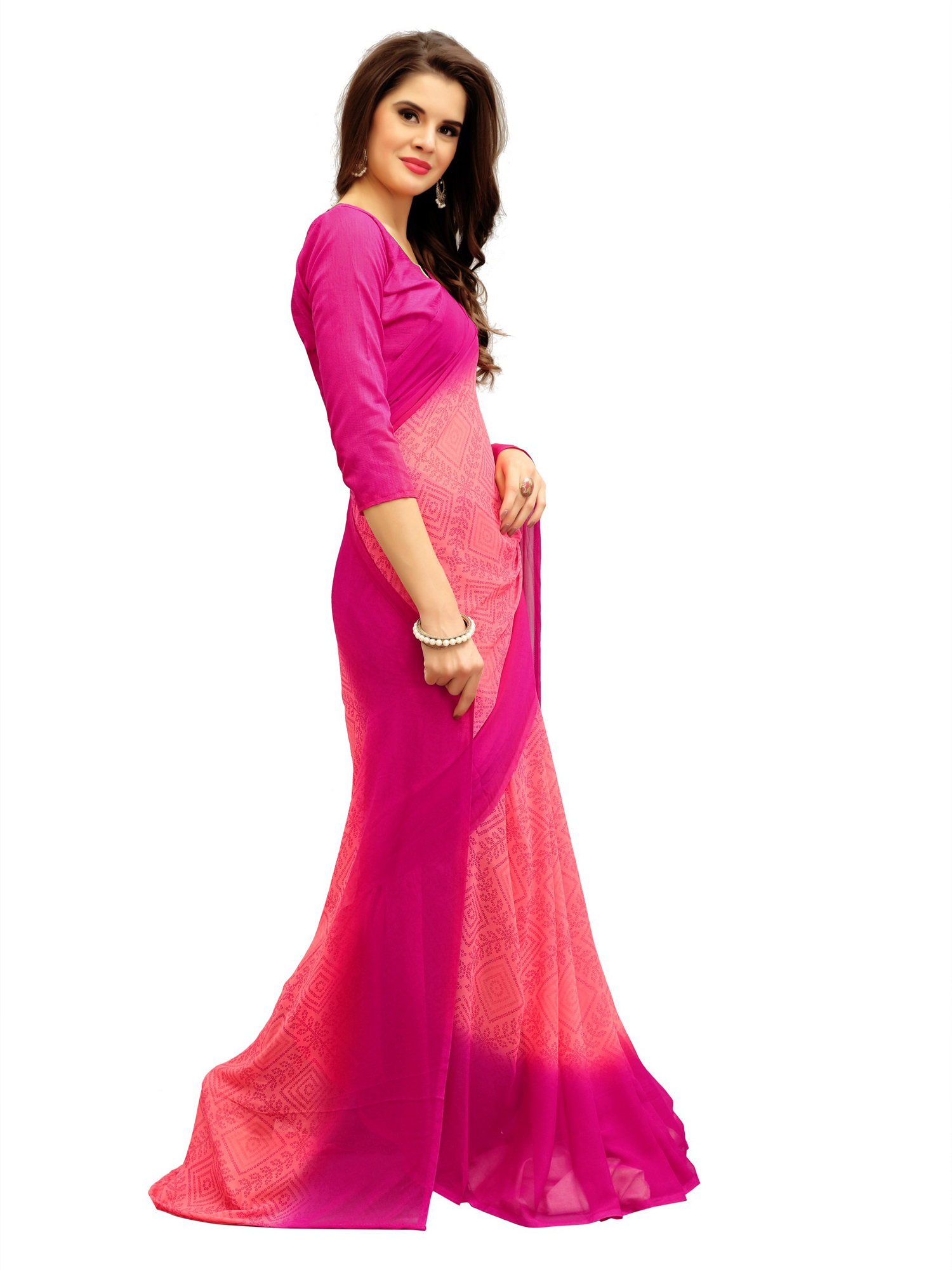 Adorable Peach-Pink Printed Weightless Georgette Saree