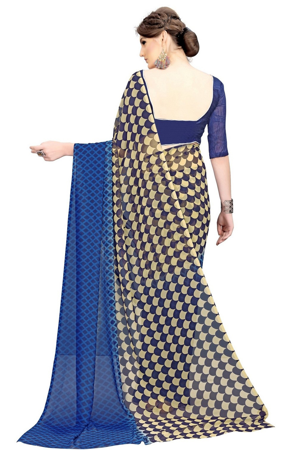 Graceful Navy Printed Weightless Georgette Saree