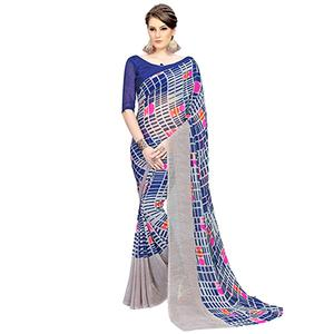 Mesmerising Blue-Gray Printed Weightless Georgette Saree