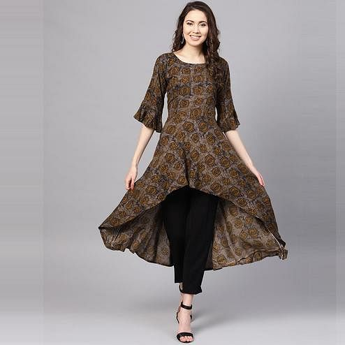 Myshka - Women's Brown Printed 3/4 Sleeve Round Neck Casual Rayon Kurti