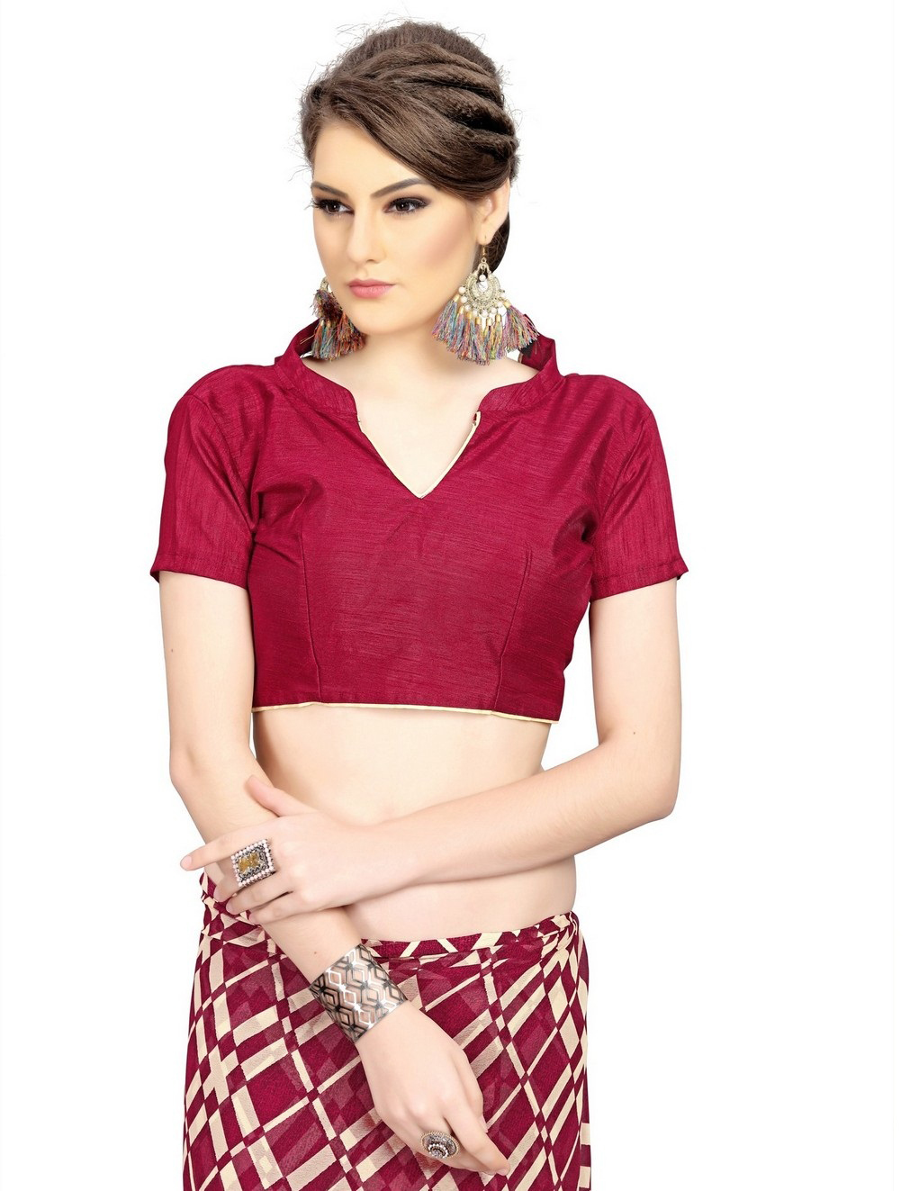 Dazzling Maroon Printed Weightless Georgette Saree