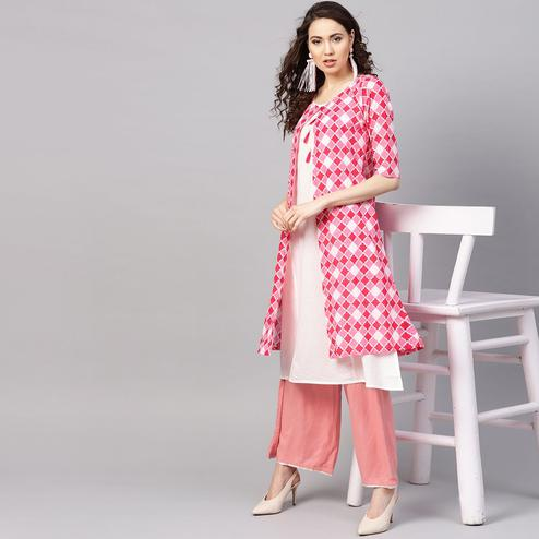 Myshka - Women's Pink Printed Round Neck Casual Cotton Kurti