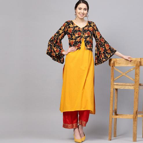 Myshka - Women's Yellow Printed Bell Sleeves Round Neck Casual Cotton Kurti