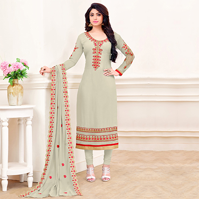 Light Grey Georgette Straight Cut Suit