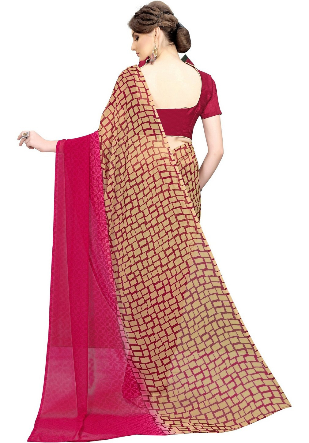 Adorable Beige-Maroon Printed Weightless Georgette Saree