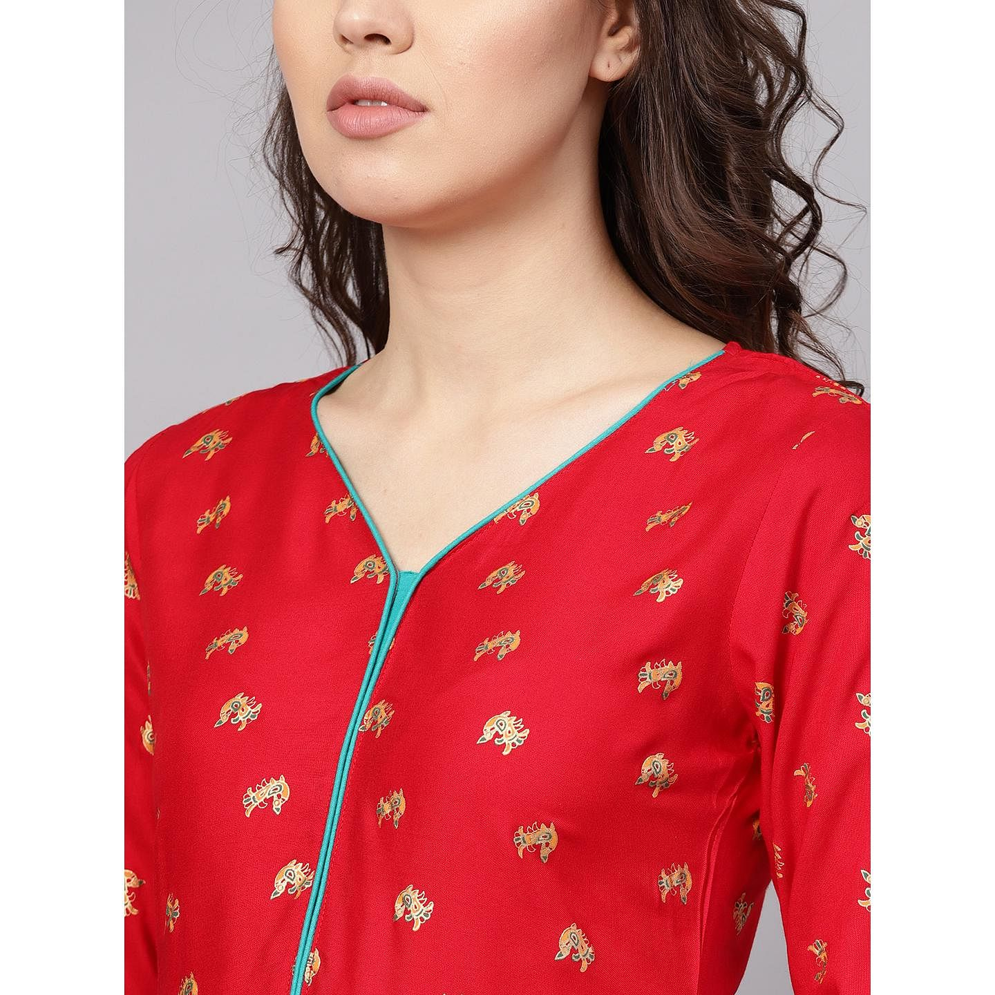 Myshka - Women's Red Printed 3/4 Sleeve V - Neck Casual Rayon Kurti