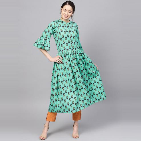 Myshka - Women's Green Printed Bell Sleeves Round Neck Casual Cotton Kurti