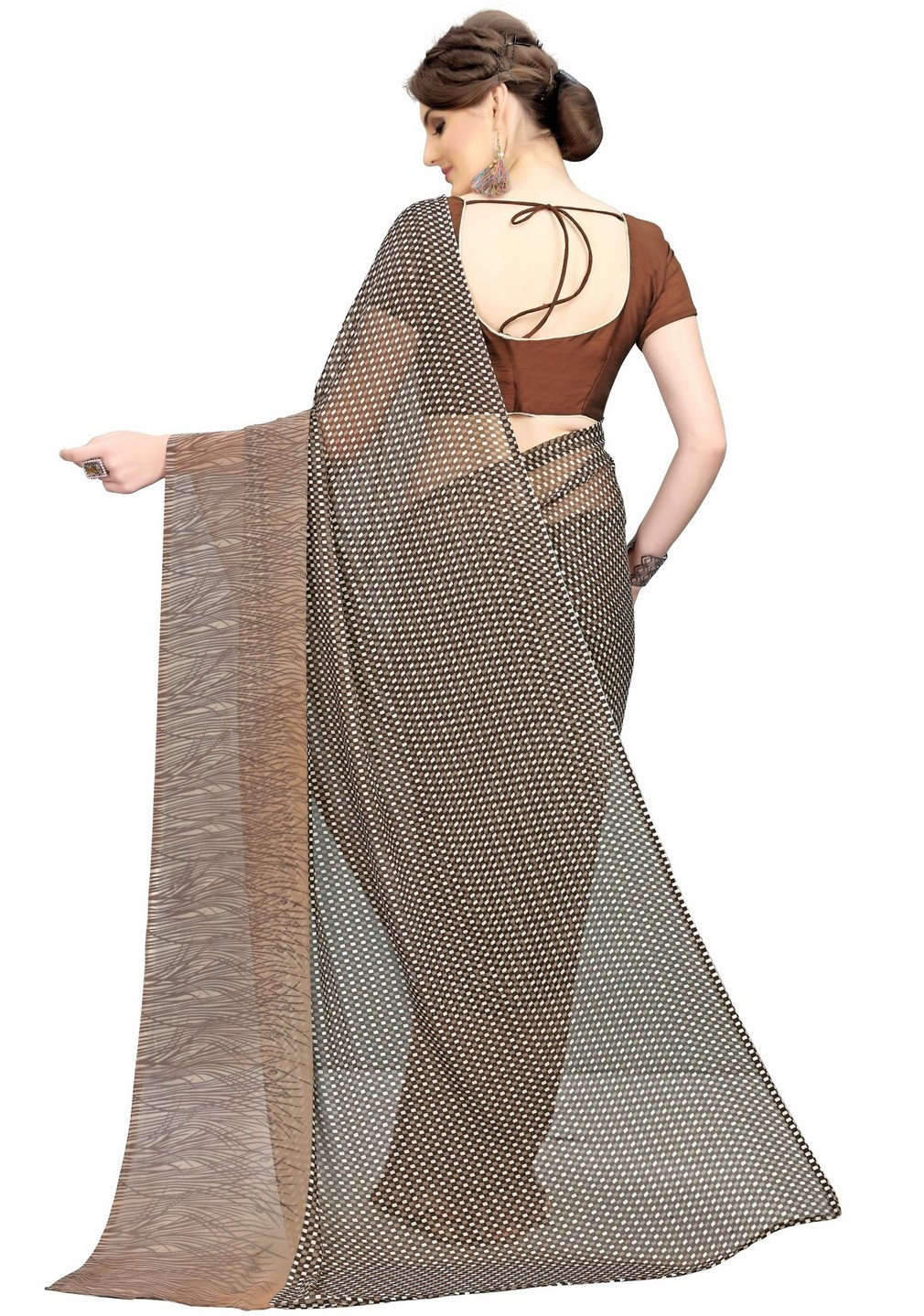 Beautiful Brown Printed Weightless Georgette Saree