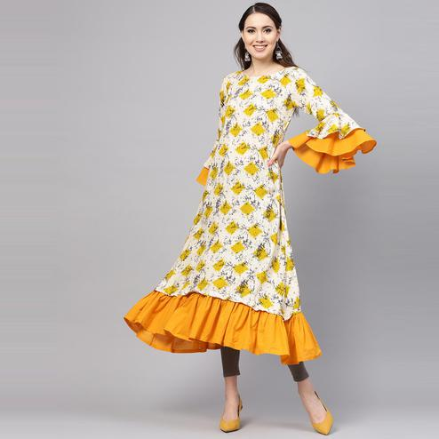 Myshka - Women's Yellow Printed Balloon Sleeve Round Neck Casual Rayon Kurti