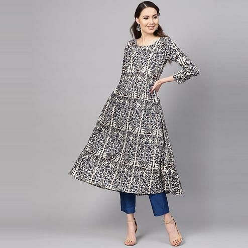 Myshka - Women's Grey Printed 3/4 Sleeve Round Neck Casual Cotton Kurti