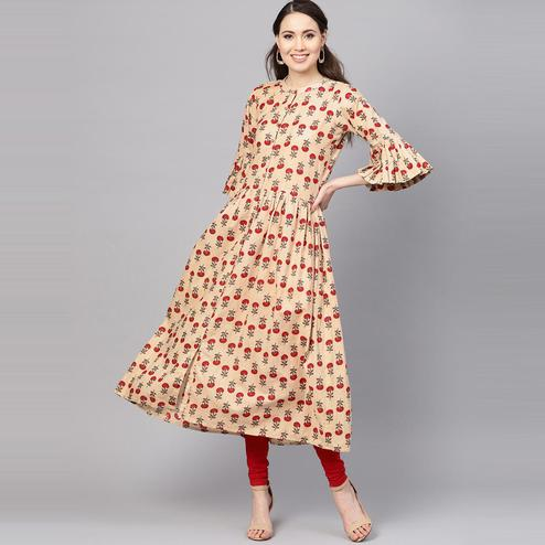 Myshka - Women's Beige Printed Bell Sleeves Round Neck Casual Cotton Kurti