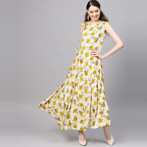 Myshka - Women's Off White Yellow Printed Sleeveless Round Neck Casual Rayon Kurti