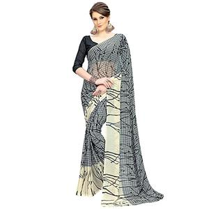 Delightful Gray Printed Weightless Georgette Saree