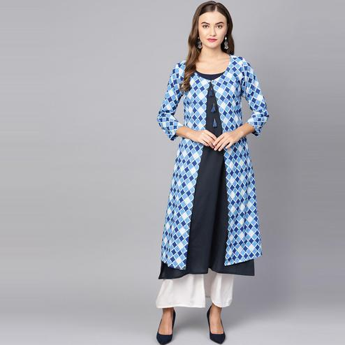 Myshka - Women's Blue Printed 3/4 Sleeve Round Neck Casual Cotton Kurti