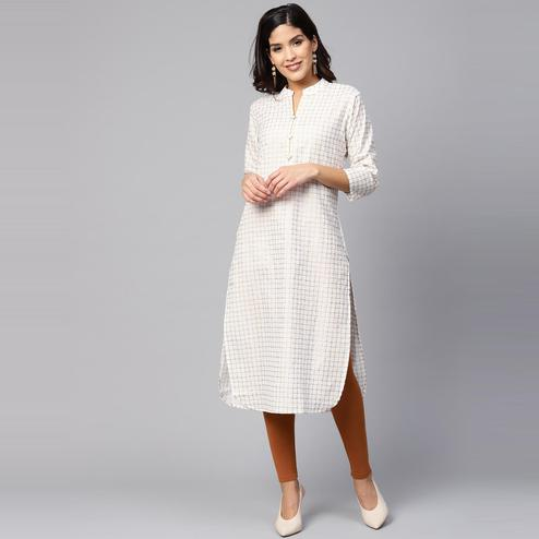 Myshka - Women's White Checked Printed 3/4 Sleeve Round Neck Casual Cotton Kurti