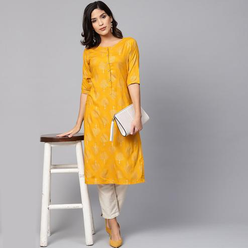 Myshka - Women's Yellow Printed Round Neck Casual Rayon Kurti