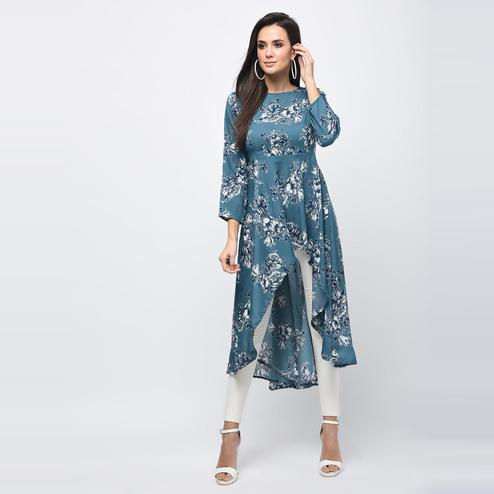 Myshka - Women's Blue Printed Regular Sleeves Round Neck Casual Polyester Kurti