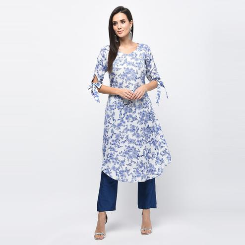 Myshka - Women's Light Blue Printed Regular Sleeves V - Neck Casual Polyester Kurti