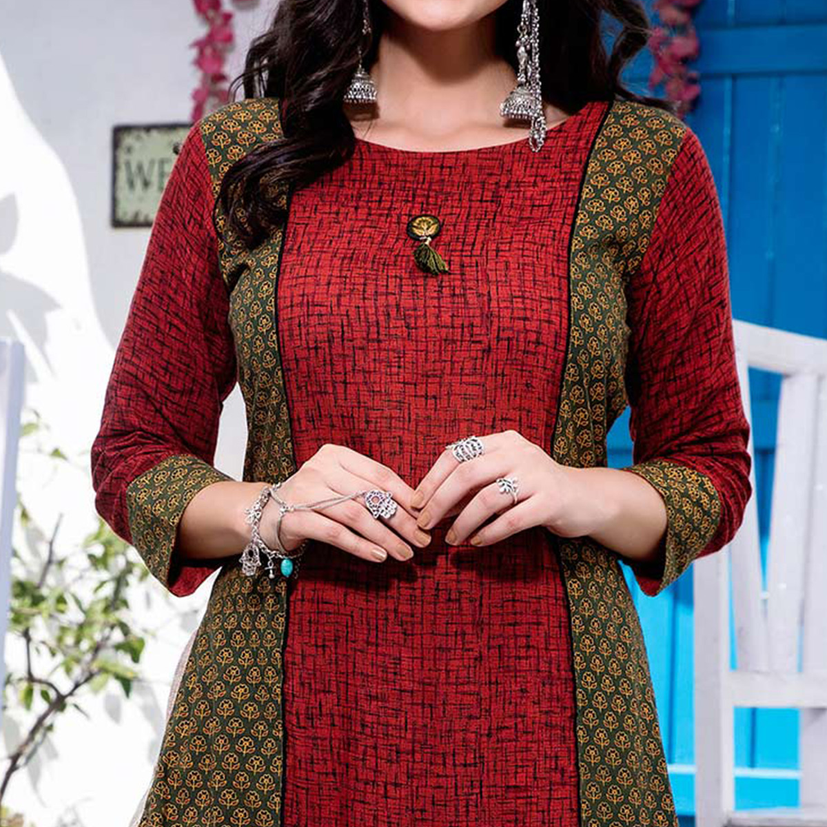 Beautiful Red Designer Embroidered Cotton Kurti