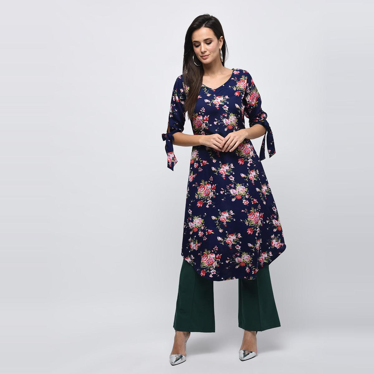 Myshka - Women's Dark Blue Printed Regular Sleeves V - Neck Casual Polyester Kurti
