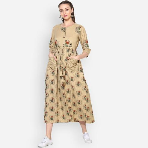 Myshka - Women's Beige Printed Round Neck Casual Cotton Kurti